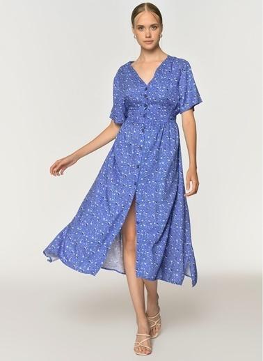 Loves You Çıtır Desen Kuşaklı Elbise Mor